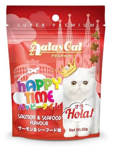 Happy Time Hola Salmon and Seafood Treat sample