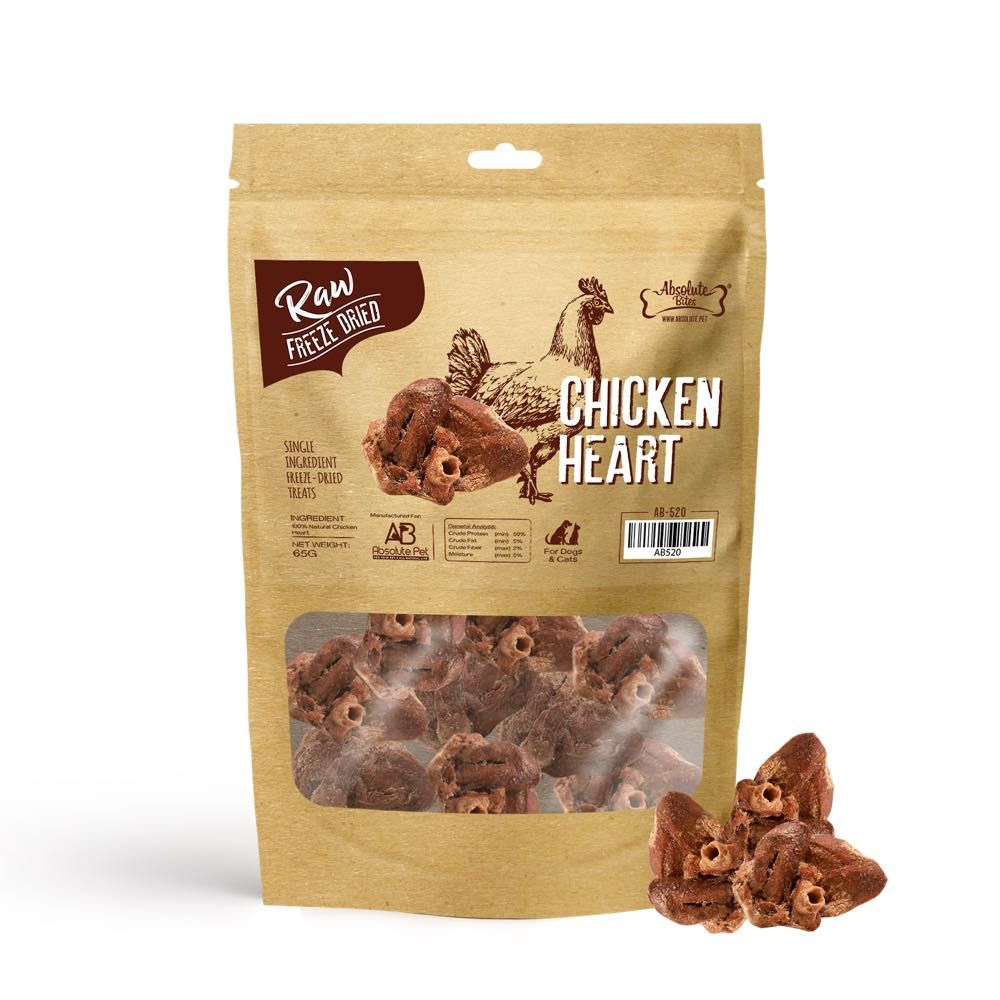 Freeze Dried Raw Chicken Heart Dog and Cat Treats 65g