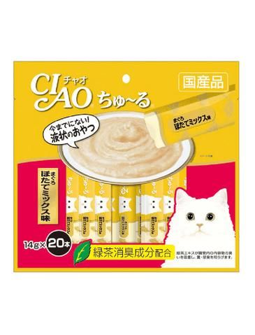 Ciao Chu Ru Tuna Scallop Mix Cat Treats 14g (20pc/pack)