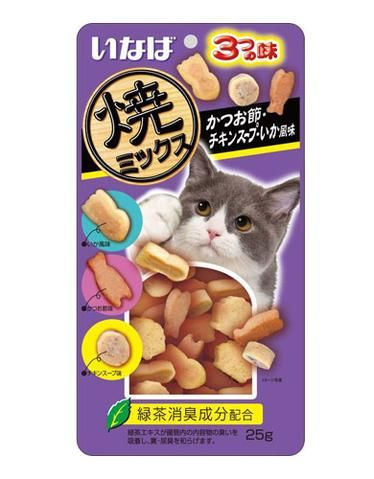 Soft Bits Mix Tuna And Chicken Fillet With Dried Bonito Chicken Soup And Squid Flavor Cat Treats