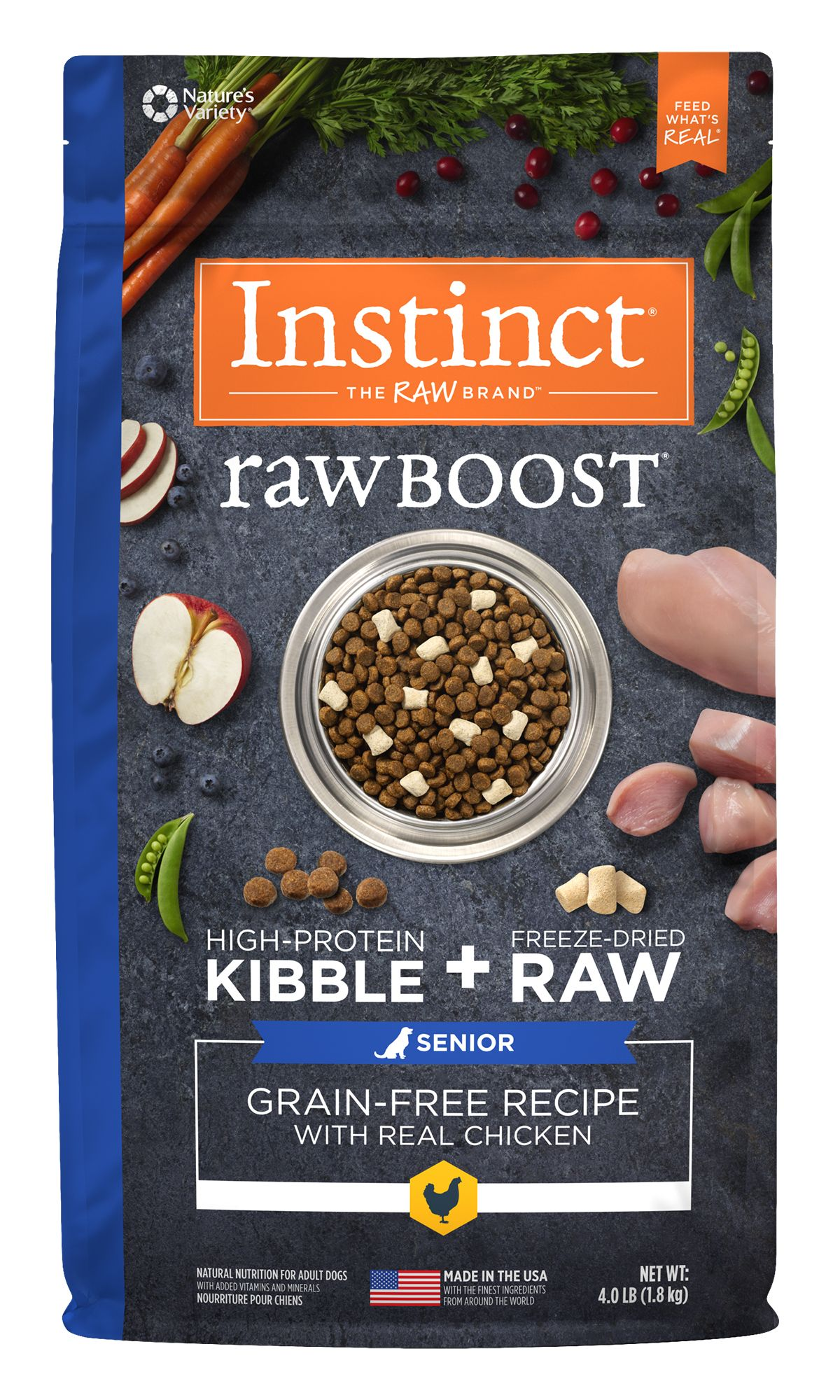 Raw Boost Grain-Free Recipe with Real Chicken for Senior Dogs
