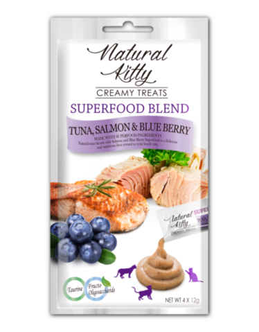 Creamy Treats Superfood Blend- Tuna, Salmon and Blueberry (4 x 12g)