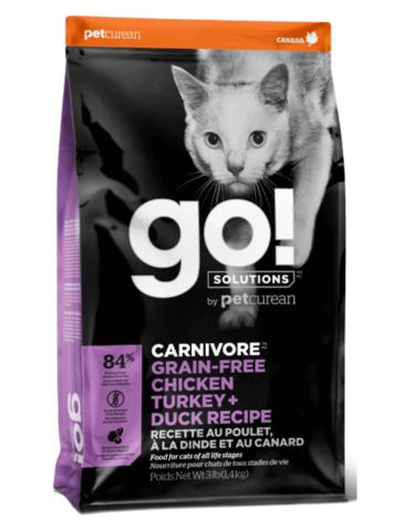 Petcurean Go! Carnivore Grain Free Chicken+Turkey+Duck Recipe Dry Cat Food
