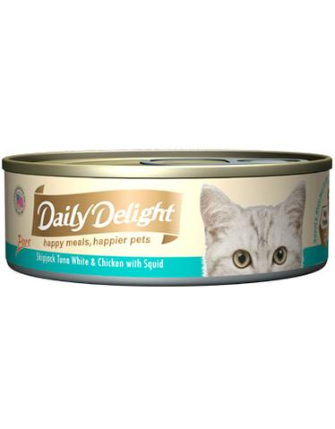 Pure Skipjack Tuna White & Chicken with Squid Canned Cat Food